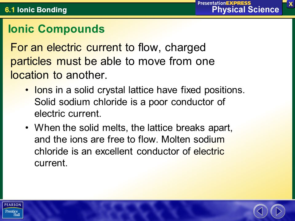 Ionic Compounds For an electric current to flow, charged particles must be able to move from one location to another.