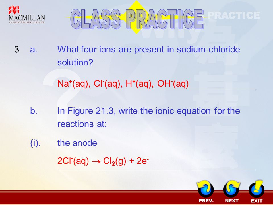 Class Practice 3 A What Four Ions Are Present In Sodium Chloride