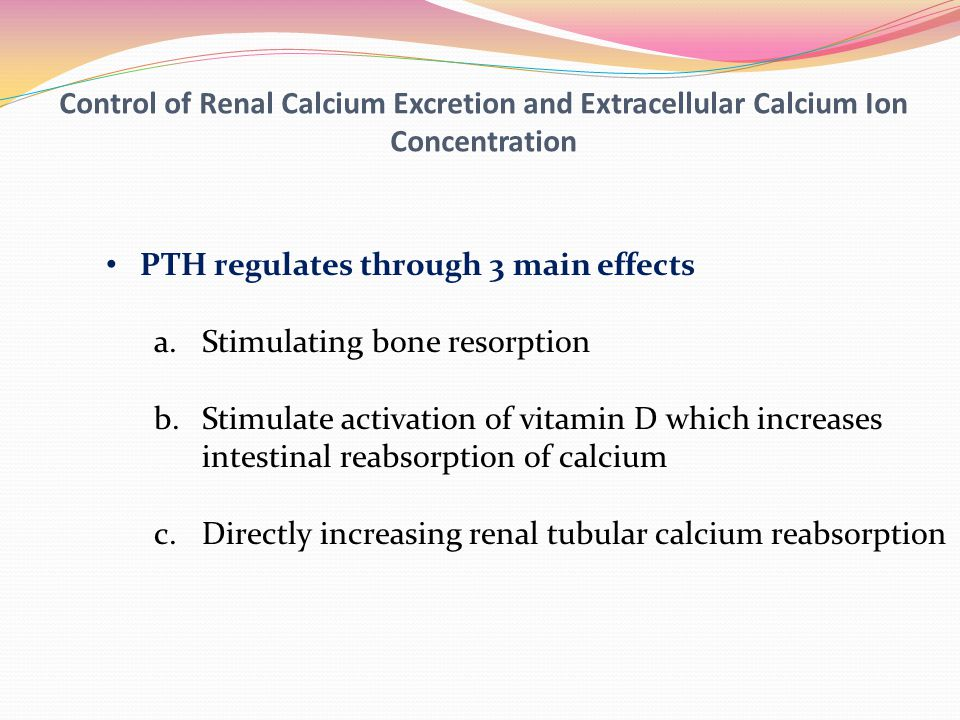 Control of Renal Calcium Excretion and Extracellular Calcium Ion Concentration