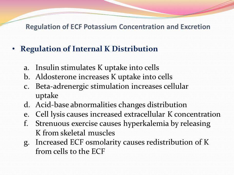 Regulation of ECF Potassium Concentration and Excretion