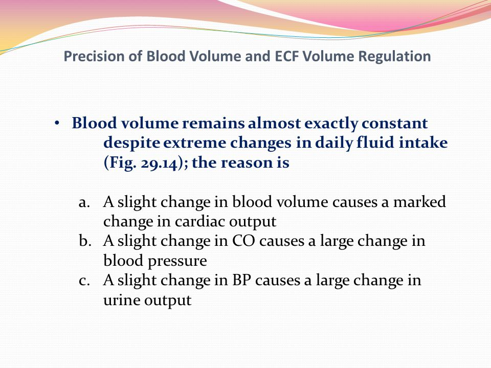 Precision of Blood Volume and ECF Volume Regulation