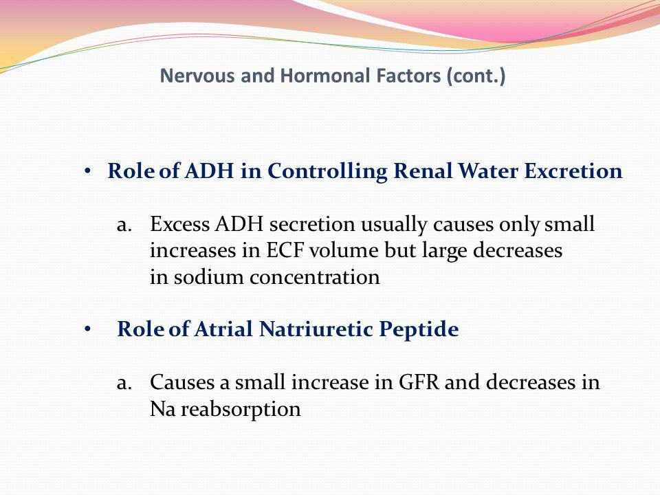 Nervous and Hormonal Factors (cont.)