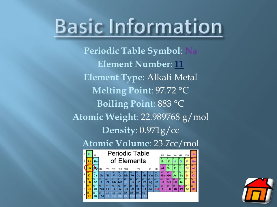 Basic Information Periodic Table Symbol: Na Element Number: 11