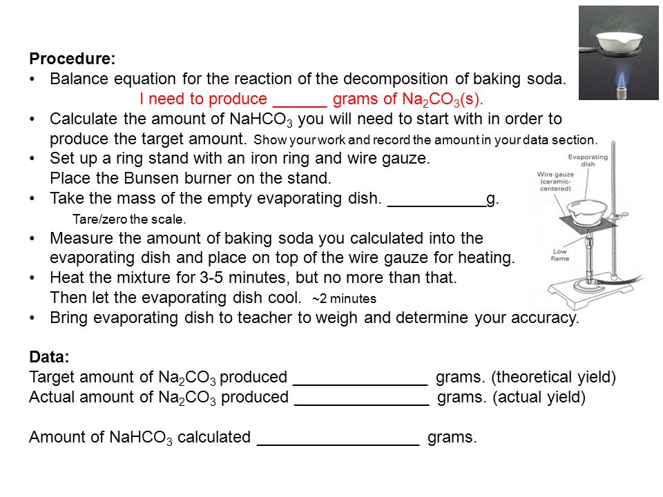 Procedure: Balance equation for the reaction of the decomposition of baking soda. I need to produce ______ grams of Na2CO3(s).