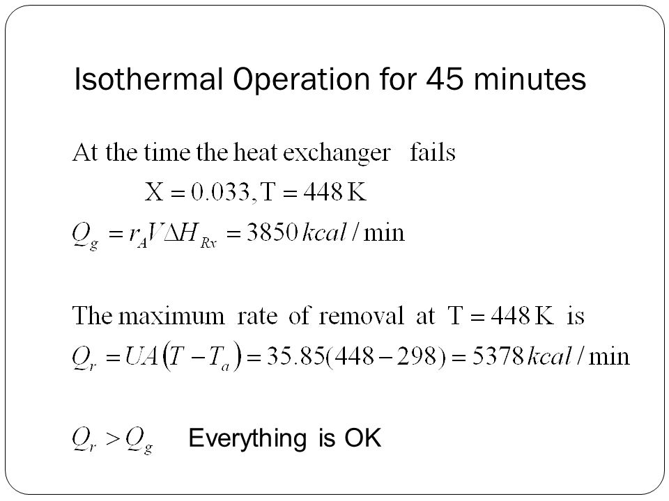 Isothermal Operation for 45 minutes