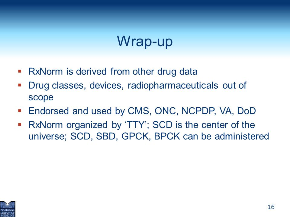 Wrap-up RxNorm is derived from other drug data