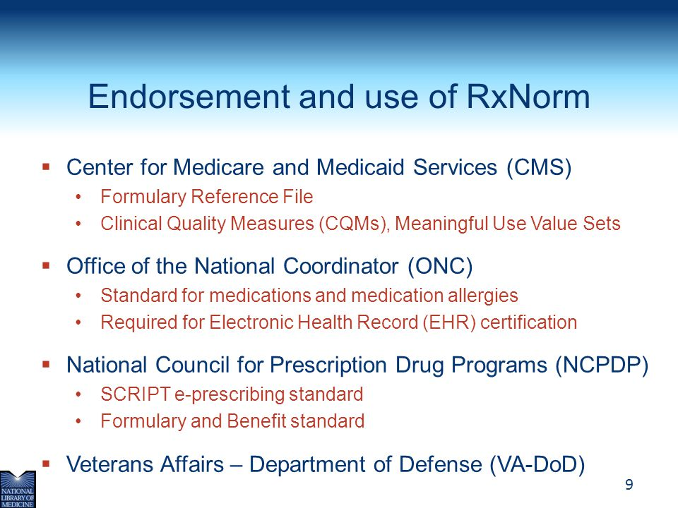 Endorsement and use of RxNorm