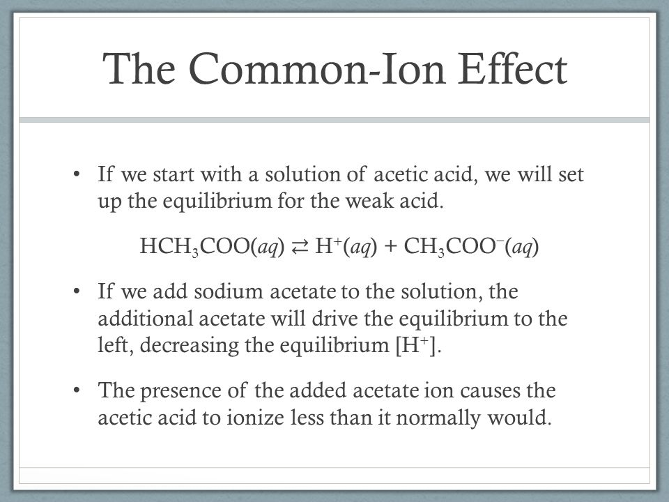 The Common-Ion Effect If we start with a solution of acetic acid, we will set up the equilibrium for the weak acid.