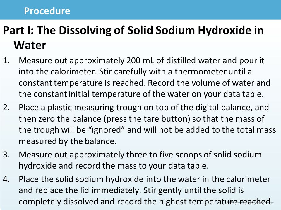 Part I: The Dissolving of Solid Sodium Hydroxide in Water