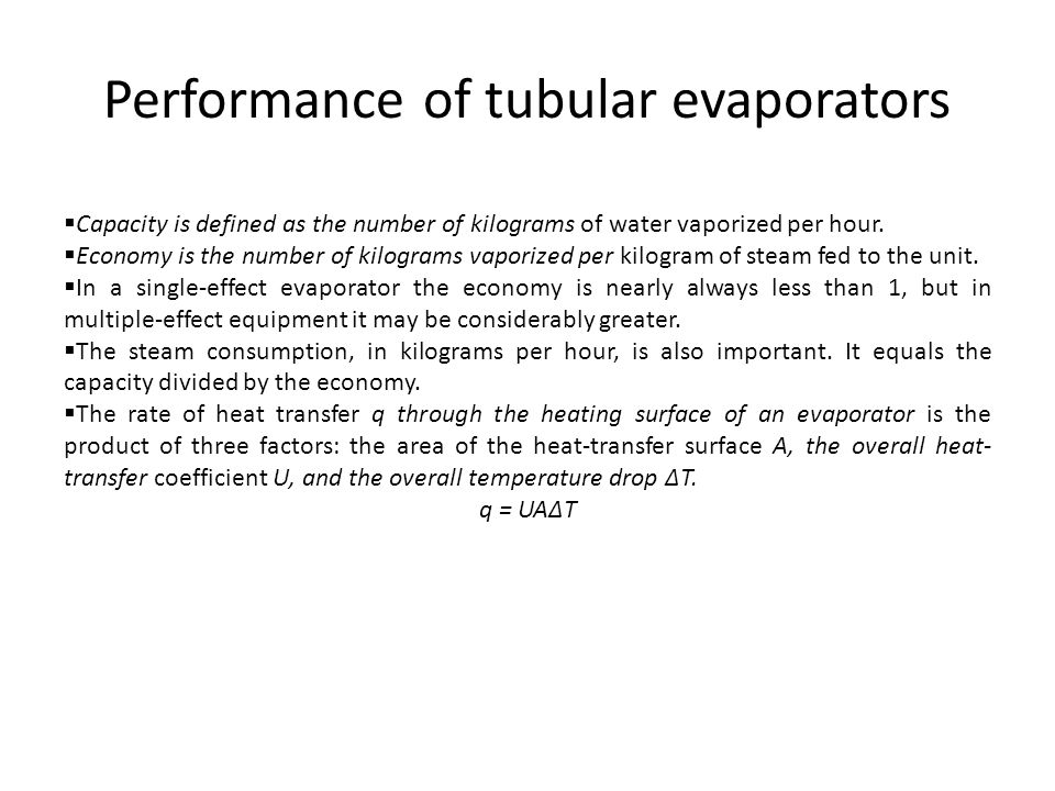 Performance of tubular evaporators