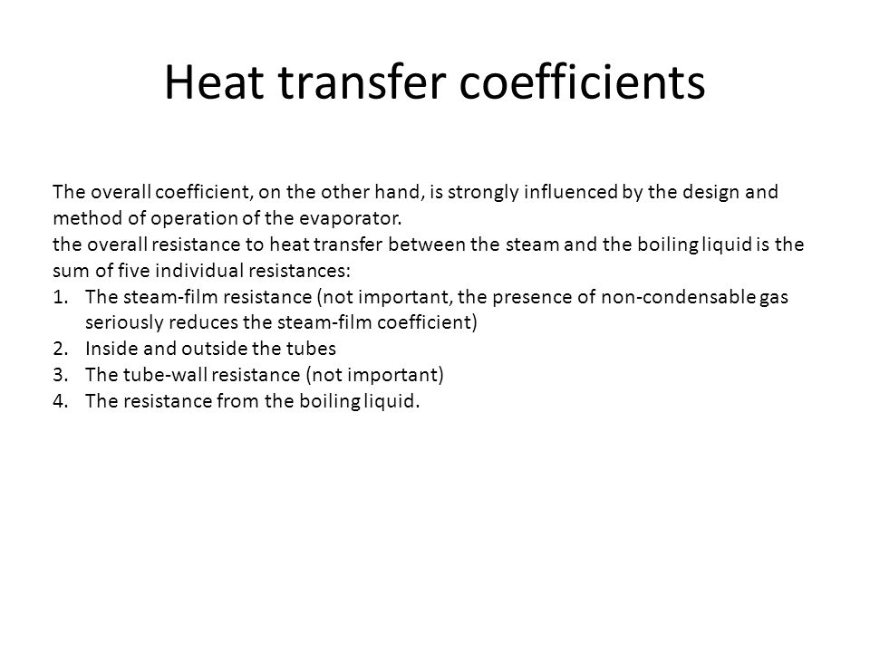 Heat transfer coefficients