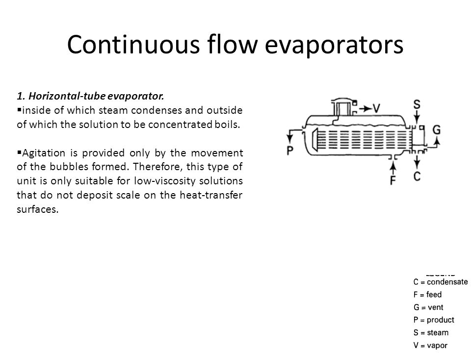 Continuous flow evaporators