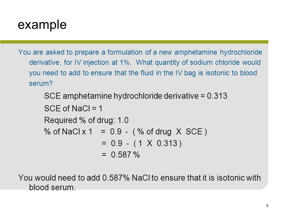 example SCE of NaCl = 1 Required % of drug: 1.0