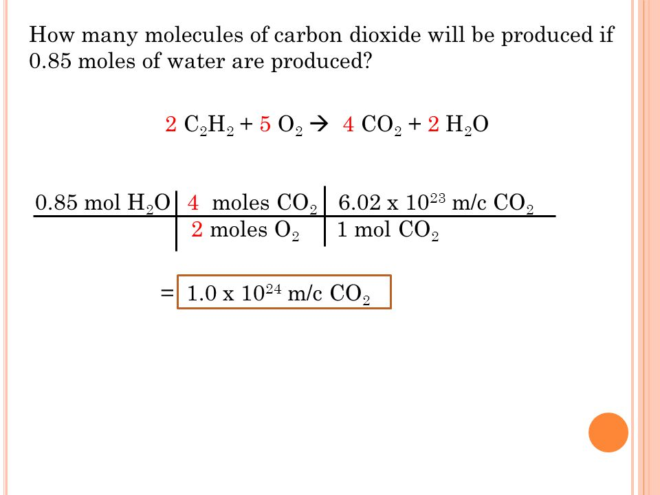 How many molecules of carbon dioxide will be produced if 0
