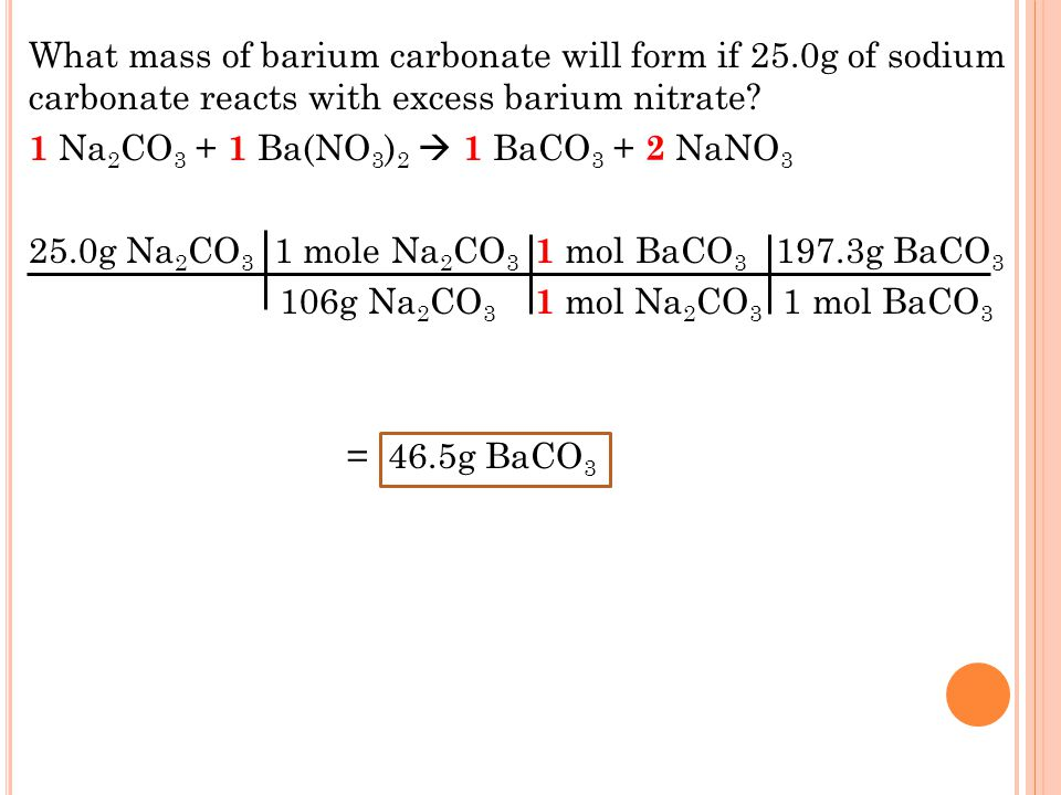 What mass of barium carbonate will form if 25