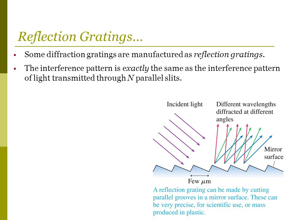 Reflection Gratings… Some diffraction gratings are manufactured as reflection gratings.