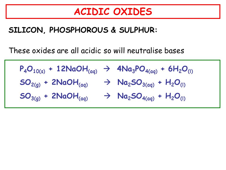 ACIDIC OXIDES SILICON, PHOSPHOROUS & SULPHUR: