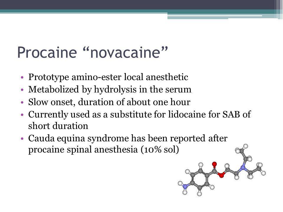 Procaine novacaine Prototype amino-ester local anesthetic