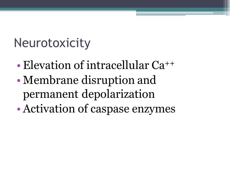 Neurotoxicity Elevation of intracellular Ca++