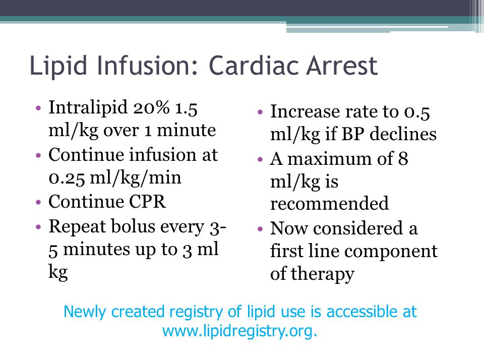 Lipid Infusion: Cardiac Arrest