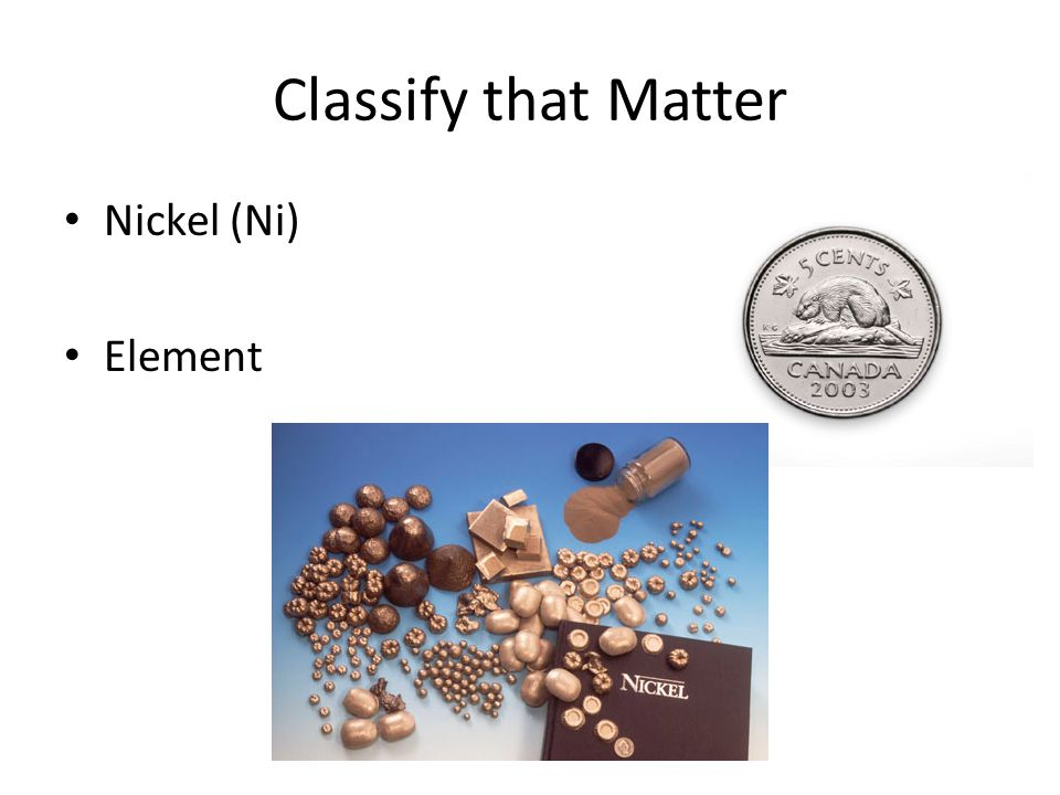 Classify that Matter Nickel (Ni) Element