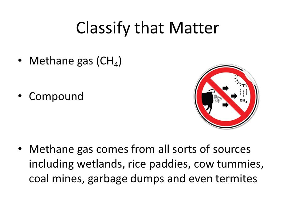 Classify that Matter Methane gas (CH4) Compound