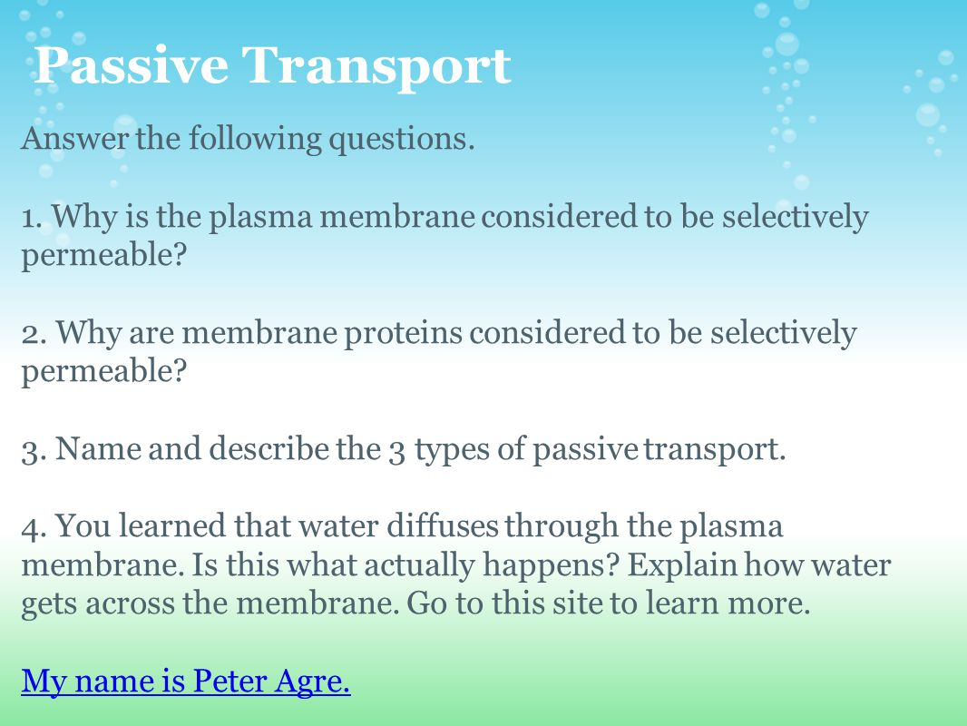 Passive Transport Answer the following questions.