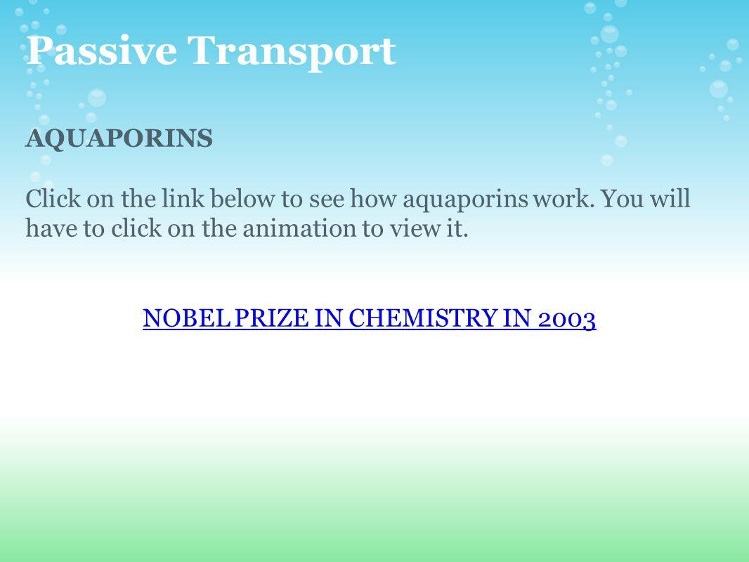 NOBEL PRIZE IN CHEMISTRY IN 2003