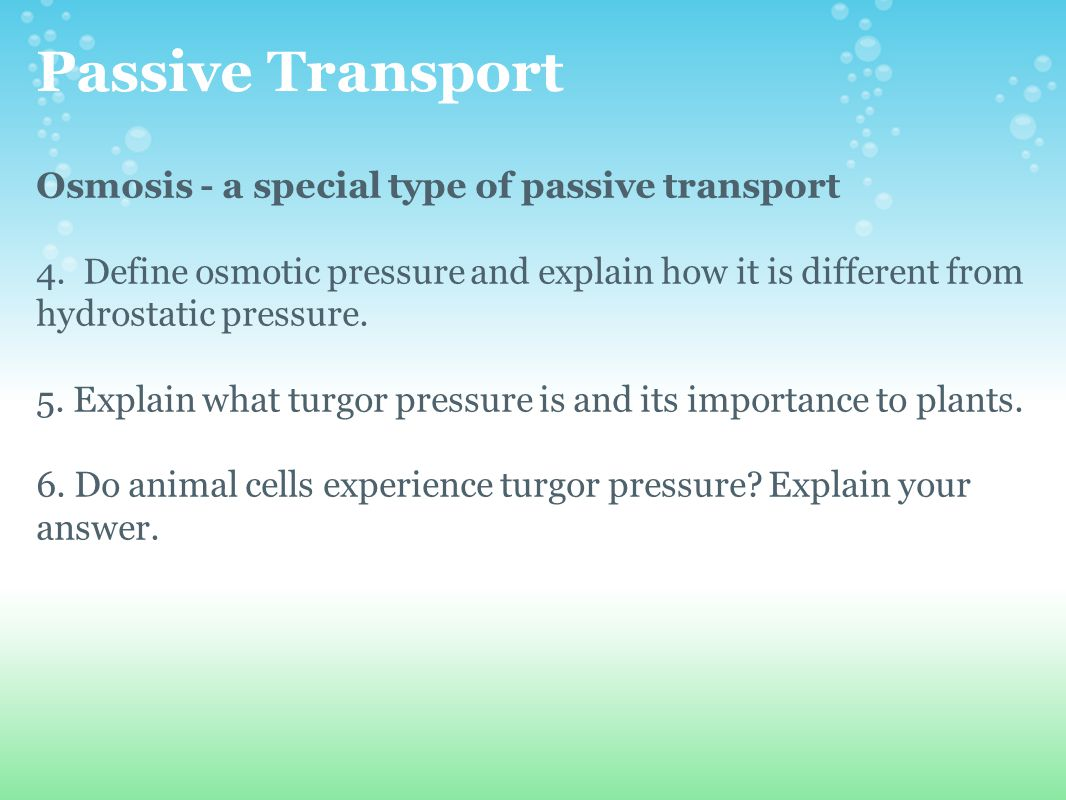 Passive Transport Osmosis - a special type of passive transport