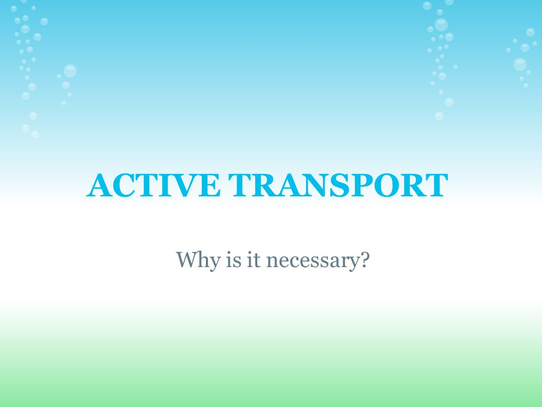 ACTIVE TRANSPORT Why is it necessary
