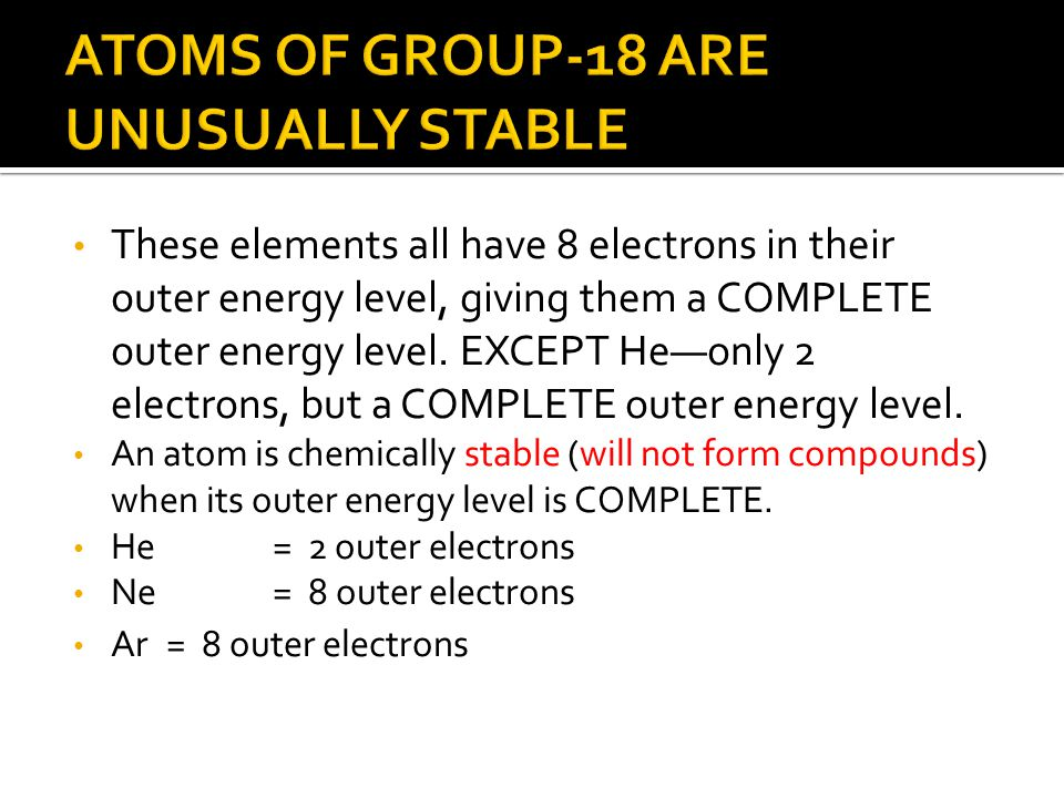 ATOMS OF GROUP-18 ARE UNUSUALLY STABLE