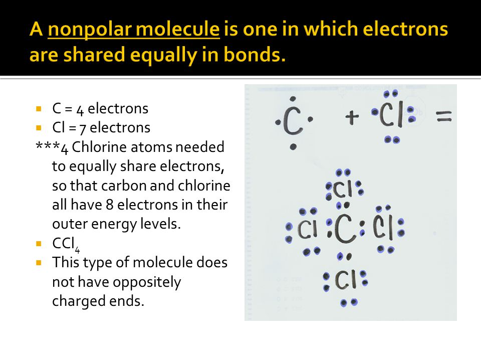 A nonpolar molecule is one in which electrons are shared equally in bonds.