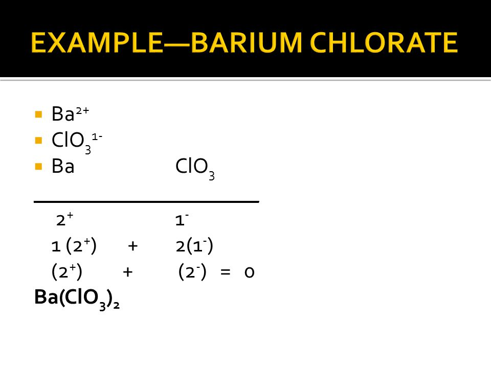 EXAMPLE—BARIUM CHLORATE