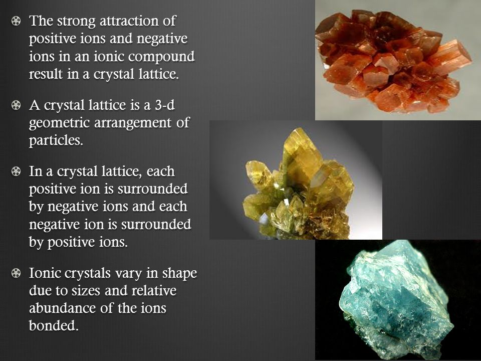 The strong attraction of positive ions and negative ions in an ionic compound result in a crystal lattice.