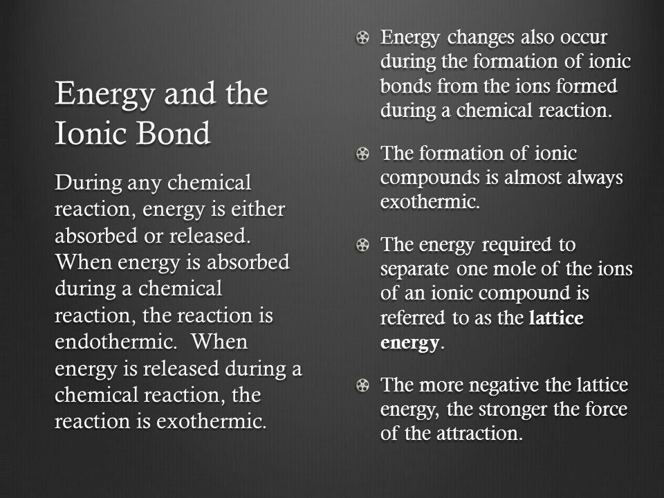Energy and the Ionic Bond