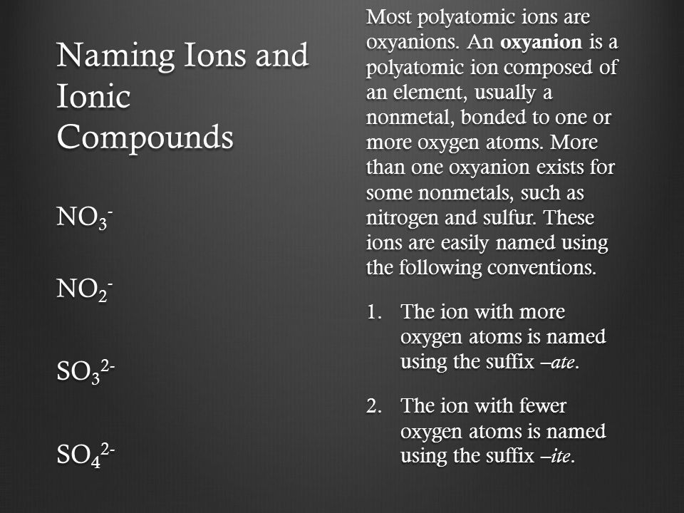 Naming Ions and Ionic Compounds