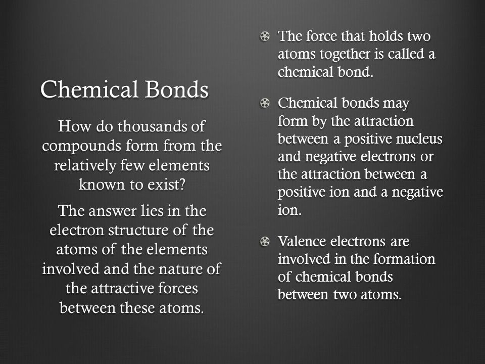 The force that holds two atoms together is called a chemical bond.