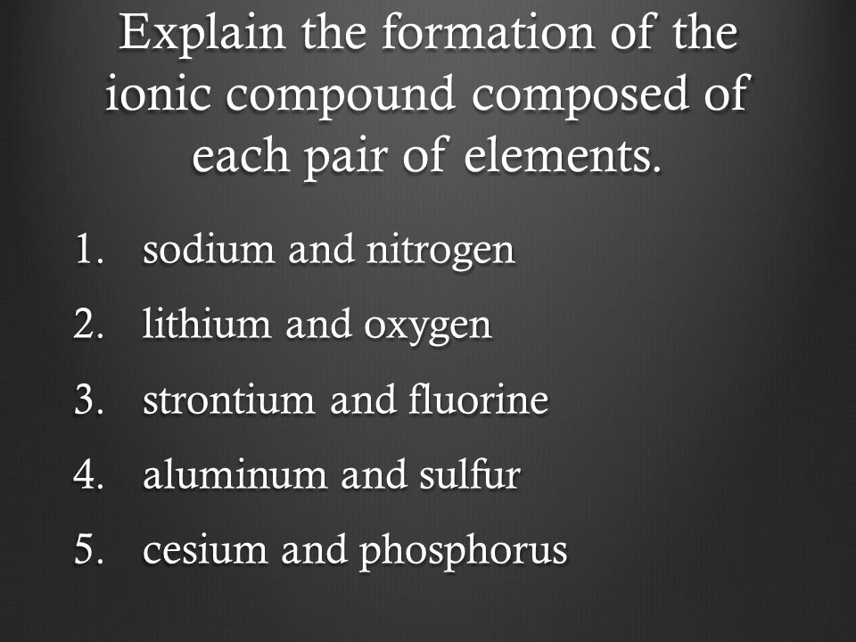 Explain the formation of the ionic compound composed of each pair of elements.