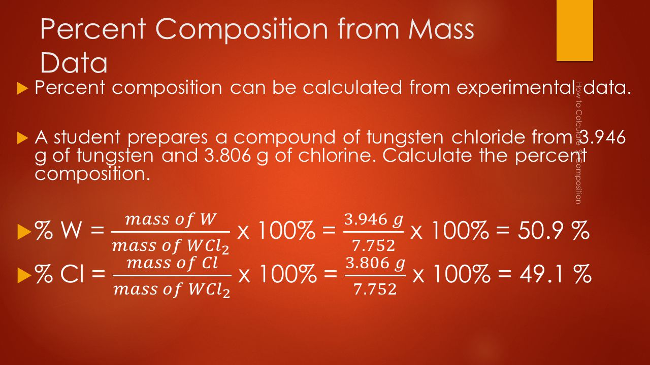 Percent Composition from Mass Data