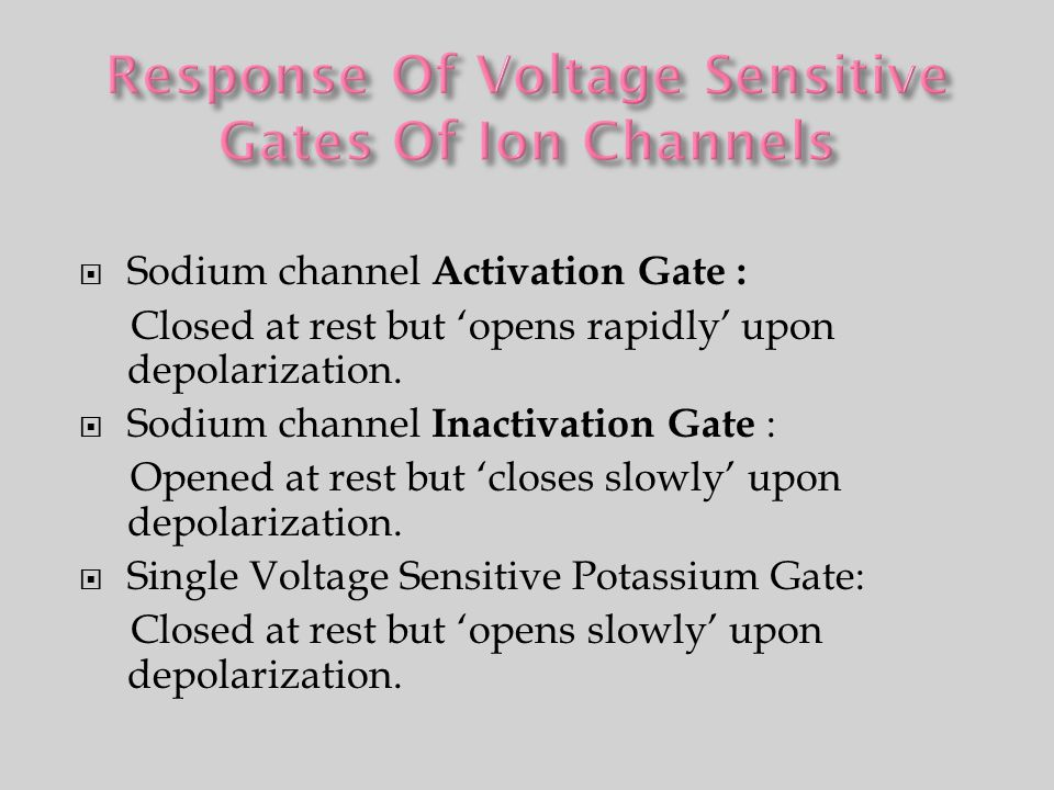 Response Of Voltage Sensitive Gates Of Ion Channels