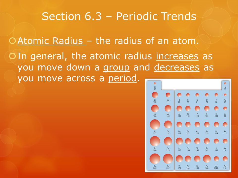 Section 6.3 – Periodic Trends
