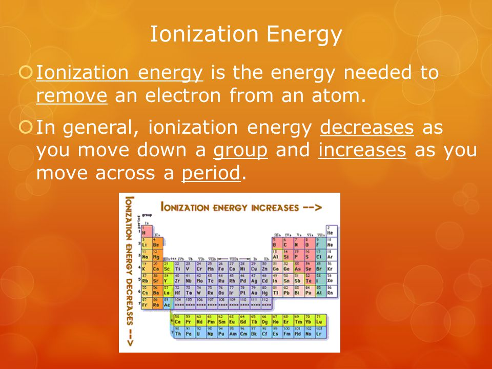 Ionization Energy Ionization energy is the energy needed to remove an electron from an atom.