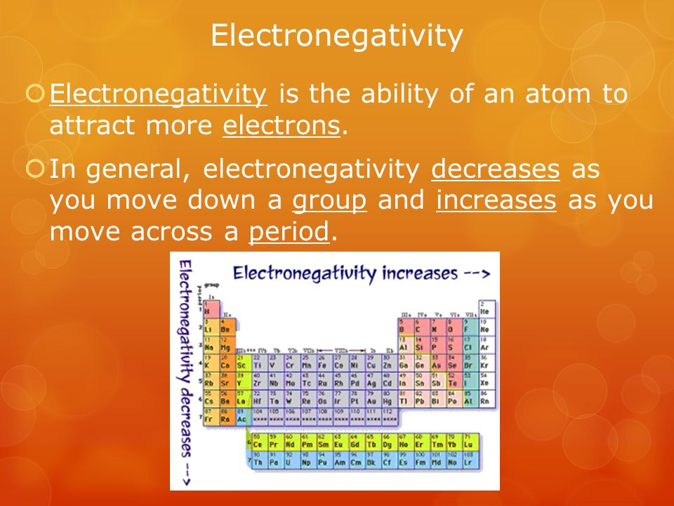 Electronegativity Electronegativity is the ability of an atom to attract more electrons.