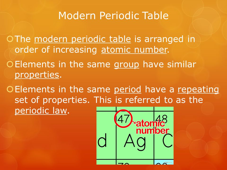 Modern Periodic Table The modern periodic table is arranged in order of increasing atomic number.