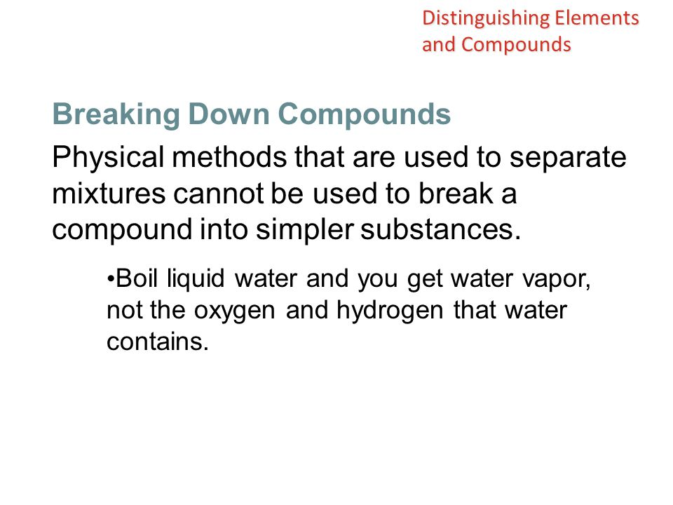 Breaking Down Compounds
