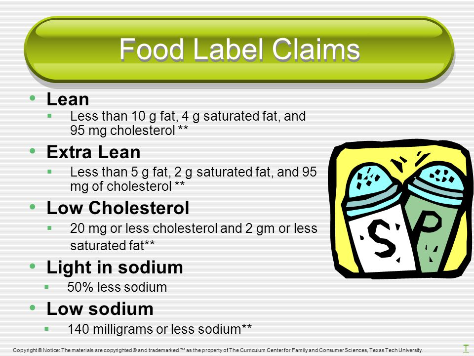 Food Label Claims Lean Extra Lean Low Cholesterol Light in sodium