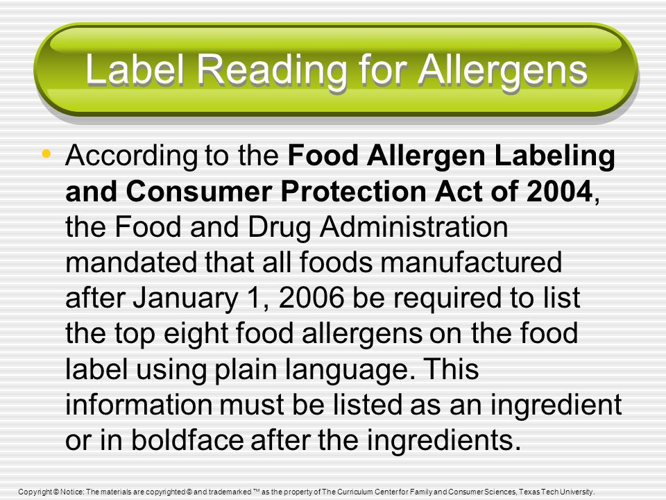 Label Reading for Allergens