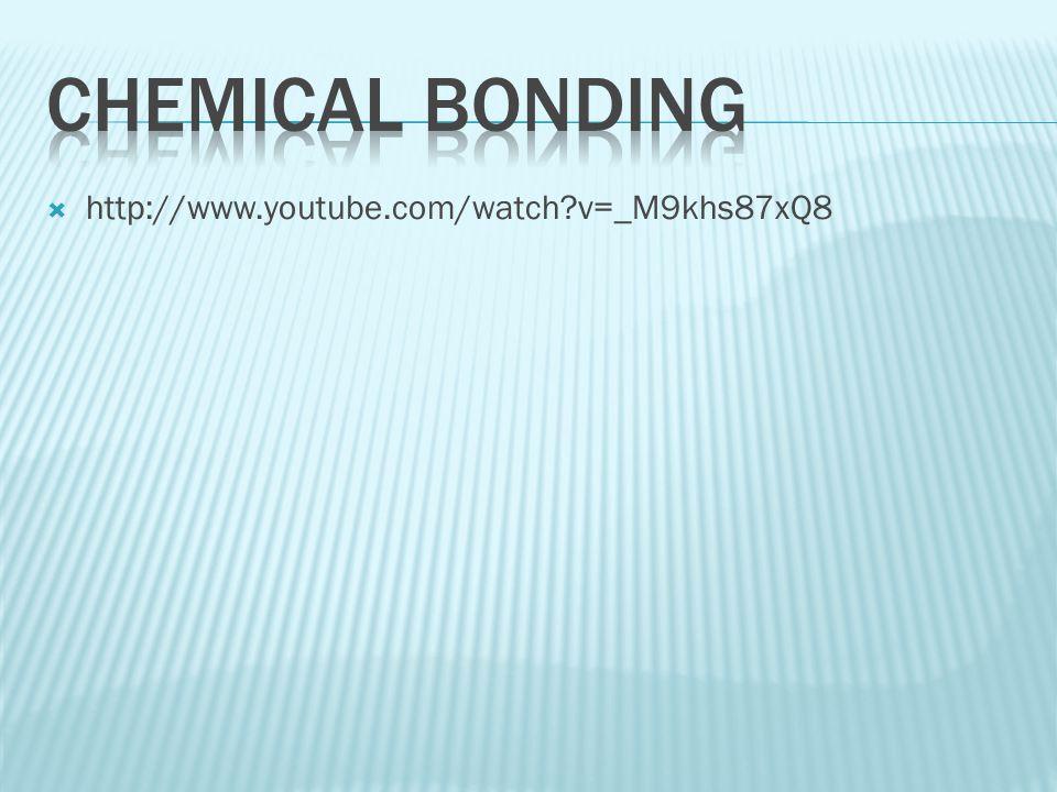 Chemical Bonding http://www.youtube.com/watch v=_M9khs87xQ8