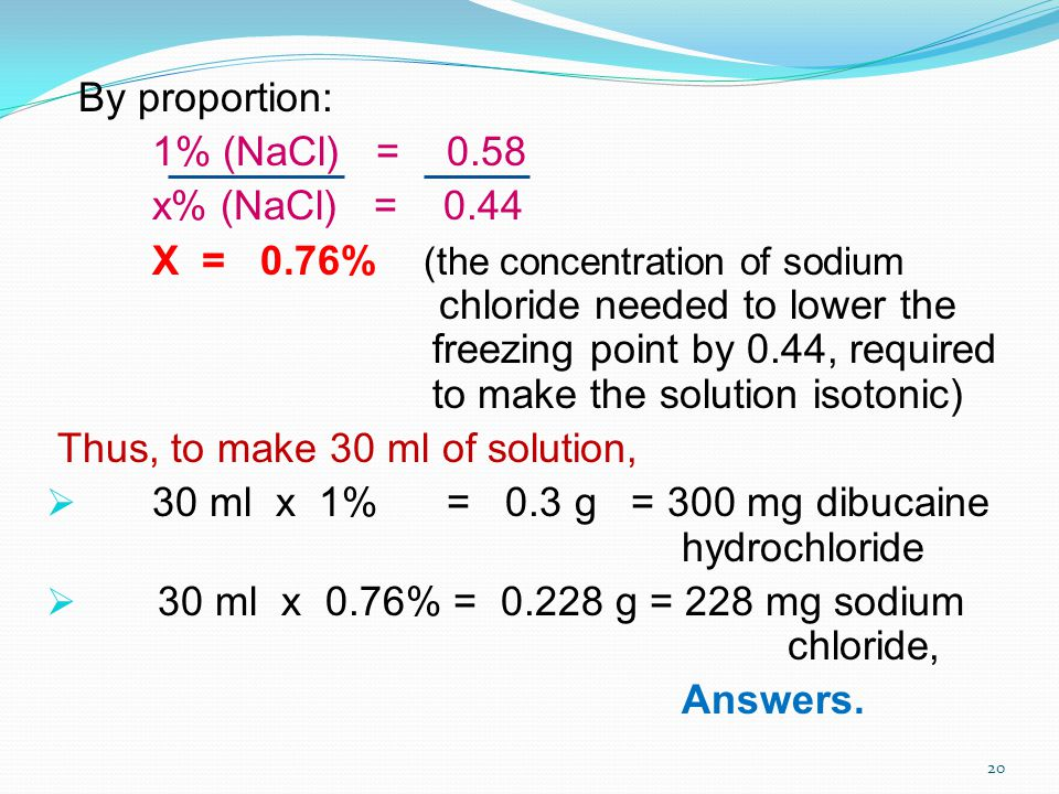 Thus, to make 30 ml of solution,