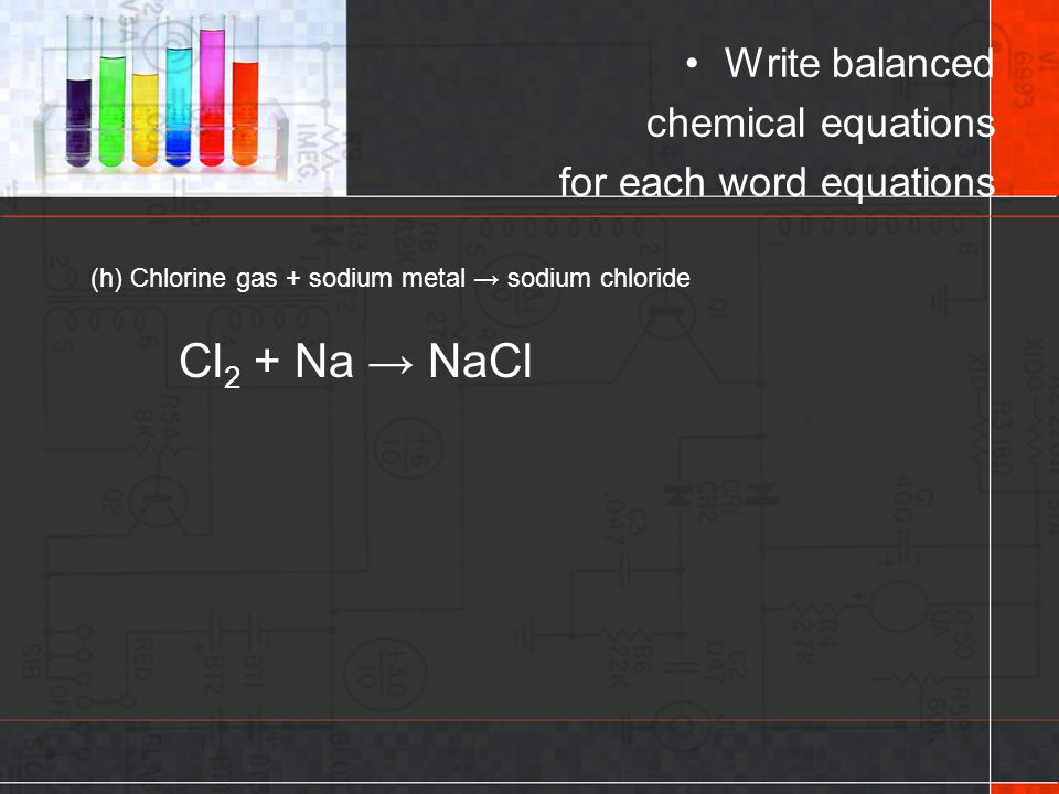 Cl2 + Na → NaCl Write balanced chemical equations